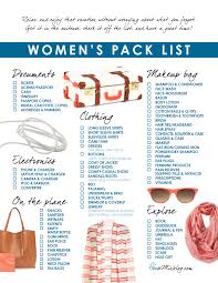 Womens Travel Pack Checklist House Mix