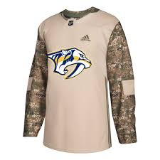 Jersey Military Nhl Nashville Predators Pro Camo Authentic Adidas Khaki 258j