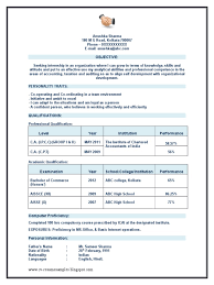 Chartered Accountant Ca Articleship Resume Sample