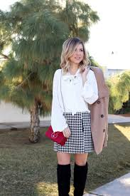 simply sutter houndstooth skirt peacoat winter style holiday look8669
