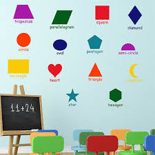 Shapes Chart For Nursery Shapes Wall Sticker Learning Girls Boys Bedroom Nursery Vinyl Art Decal X 14 Ebay