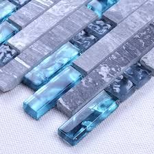 blue glass stone mosaic wall tiles gray marble tile kitchen backsplash ideas bathroom tile flooring sgt008