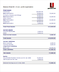 sample balance sheet for non profit 4 non profit sheet templates free samples examples format