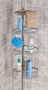 stainless steel corner shower caddy. Modren Corner MDesign Telescopic Shower Caddy U2013 Stainless Steel No Drill Corner  Shelves With Towel Bar U0026 Hooks Ideal For Shampoo Razors Other  Throughout A