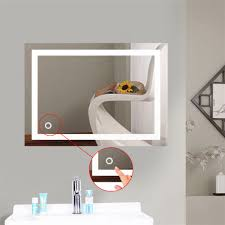 Hotel Bathroom Lighted Mirror Us 83 8 16 Off New Stylish Bath Mirror Led Light Up Cosmetic Mirror Wall Mount Makeup Mirror With Touch Button For Home Hotel Bathroom Hwc In Bath