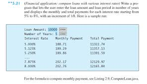 Solved 5 21 Financial Application Compare Loans With V