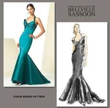 Mermaid Dress Pattern Best VOGUE V48 BELLVILLE SASSOON MAE WEST STYLE MERMAID EVENING DRESS