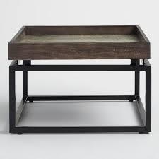 jayla square wood tray metal coffee table