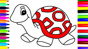 turtle drawing for kids. Modren For How To Draw Turtle  Coloring Pages  Kids Learn Drawing Art Colors For  Children Animals Intended For S
