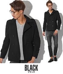 pea coat men p coat melton wool outer coat jacket short coat short length plain wool