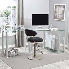 furniture fantastic l shaped computer corner desk with glass top and black swivel chair