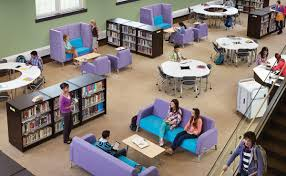 contemporary library furniture. Love The Combination Of More Traditional Table/chair Groupings Along With Contemporary Sofa/coffee Table Seating, Broken Up By Dividing Bookshelves. Library Furniture R