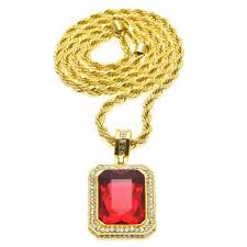 whole gold diamond necklace mens iced out ruby octagon hip hop pendant with chain fashion jewelry 2017 gold necklace heart necklace from agogogo