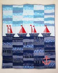 Patchwork Quilt with Sailboats, Nautical Quilt, Nursery Quilt ... & Patchwork Quilt with Sailboats, Nautical Quilt, Nursery Quilt, Children  Blanket, Toddler Quilt, Unique Handmade Quilt, Blue Bedding Adamdwight.com