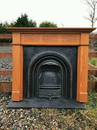 106 cast iron fireplace surround fire wood old arch insert antique victorian style arched