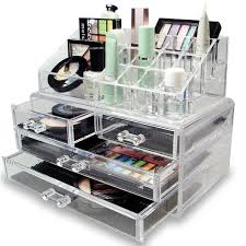 organize and you cosmetics and accessories with this two piece acrylic jewelry and cosmetic storage display set it features removable mesh lining at