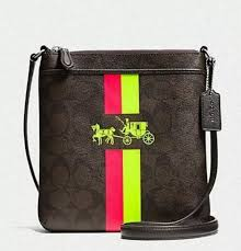 NWT COACH Signature Crossbody North South F52705 Neon Yellow Brown Pink  Freship  Coach