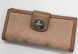Coach signature turnlock large wallet peach pink