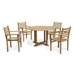 canfield round 1 2m table 4 yale stacking chairs teak patio