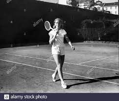 The tennis player Lea Pericoli in mini shorts on the courts of the tennis  Club, Milan,
