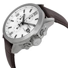 tissot t sport prc 200 chronograph white dial brown leather mens tissot