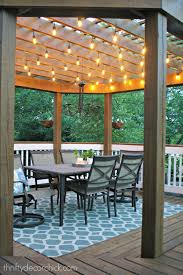 lighting for pergolas. Our Outdoor Dining Room With Lights Under A Wood Pergola. We Used Antique Oak Stain On The Deck And Pergola White Paint Railings. Lighting For Pergolas I