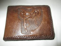 vintage hand tooled leather mens wallet saddle and sombrero cactus mexico