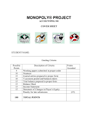 Proper Income Statement Monopoly Project 10