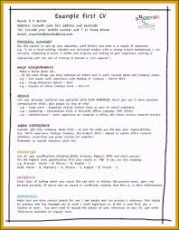 First Job Cv How To Write A Resume For A First Job Trendy My First Resume
