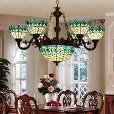 stained glass chandelier unique vintage leaded pic 389