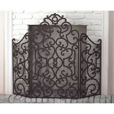 baroque ornate fireplace screen scroll antique bronze mesh backing new