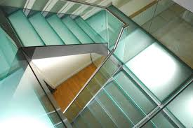 steel glass staircase u shaped with glass railing and glass treads