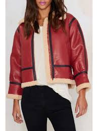 fleece lining pu leather jacket red m