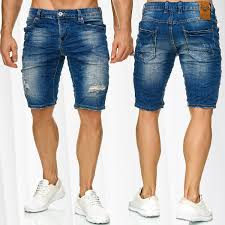 Light Summer Jeans Mens Mens Bermuda Jeans Shorts Stretch Denim Capri Ripped Holes Cracks Summer Pants