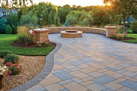 patio pavers with fire pit. Picturesque Patio: Paver Patio, Fire Pit And Curved Seat Wall Transitional- Patio Pavers With