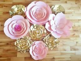 Paper Flower Wedding Backdrops Details About Nursery Flowers Paper Flowers Wedding Backdrop Pink And Gold Set Of 9