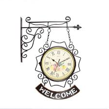 double sided metal wall clock living room clock european personality home fashion atmosphere clock modern minimalist creative two sided wall large clocks