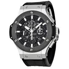 hublot big bang aero chronograph black skeleton dial black rubber zoom hublot hublot big bang aero chronograph black skeleton dial black rubber strap mens