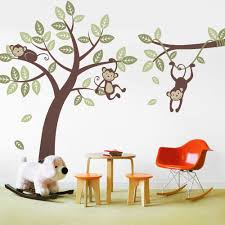 monkey tree wall decal with branch vine