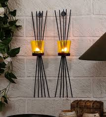 craftvatika metal black wall candle holder sconces set of 2 wall hanging mounted holders
