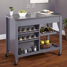 Modern Mobile Kitchen Island Rolling Gray Wood Cart Stainless Steel