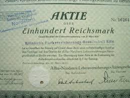 1935 Ge Stock Cert Allba Nordstern Lebensversicherungs