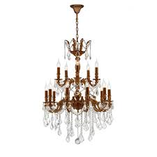 worldwide lighting versailles 18 light french gold chandelier with clear crystal