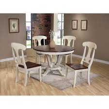 french country oak wood 5 piece dining set by baxton studio