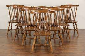 sold heywood wakefield signed set of 8 windsor vine maple dining chairs harp gallery