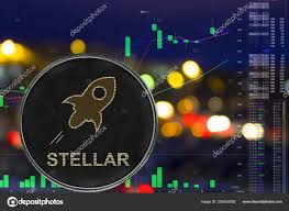 Stellar Stock Chart Coin Cryptocurrency Stellar On Night City Background And