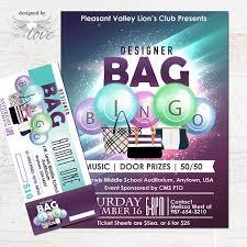 Designer Bag Bingo Flyer Fundraising Event Flyer Bingo