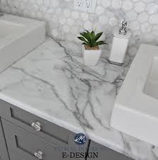 marble bathroom countertops. Budget Friendly Bathroom Update Ideas, Formica Calacatta Marble Laminate Countertops, Hexagon Tile Backsplash. Chelsea Gray Vanity. Kylie M E-design Countertops L