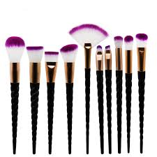 <b>10pcs Makeup</b> Brush Set Black <b>Spiral</b> Handle Contour Base Powder ...