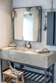 a concrete vanity on metal legs can be diyed and it will be very durable